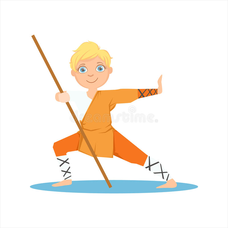 Garçon dans le moine Orange Clothes With de Shaolin un Polonais sur le personnage de dessin animé martial d'Art Sports Training C illustration de vecteur