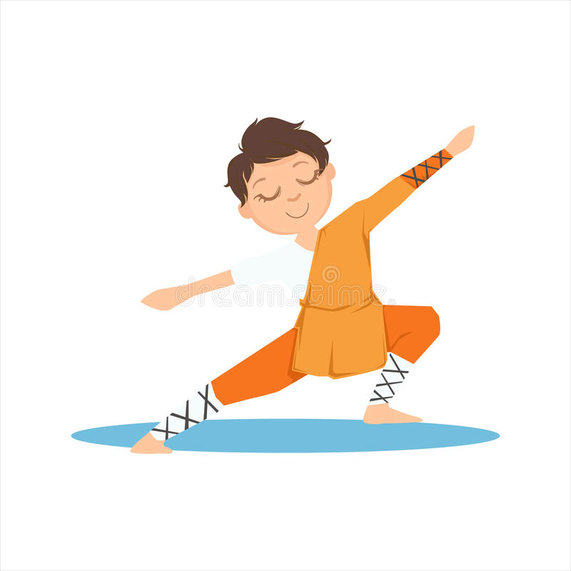 Garçon dans le moine Orange Clothes Doing Tai Chi Exercise On Karate méditatif Art Sports Training Cute Smiling martial de Shaoli illustration stock