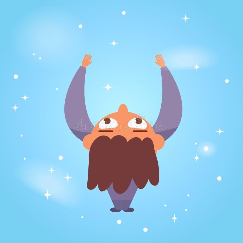 Garçon dans le planétarium Vecteur étoilé de ciel cartoon illustration stock