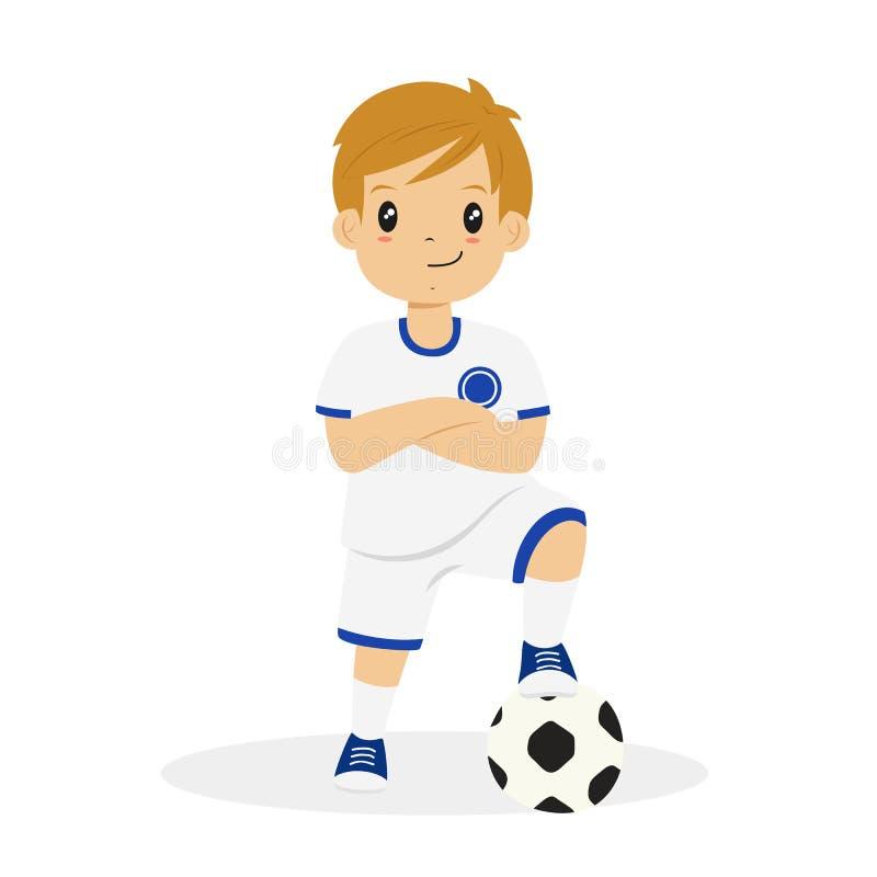 Garçon dans le vecteur blanc et bleu de bande dessinée de débardeur de football illustration stock