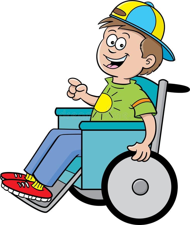 Garçon dans un fauteuil roulant illustration de vecteur