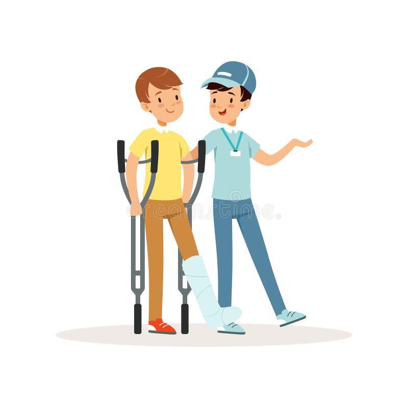 Garçon de aide volontaire gai avec des béquilles Jambe en plâtre Aide sociale Activiste dans le chapeau bleu, le T-shirt et des j illustration stock