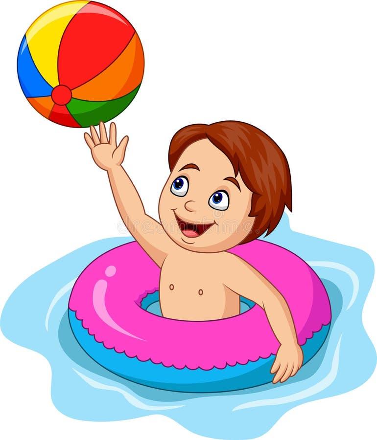 Garçon de bande dessinée jouant le cercle gonflable avec du ballon de plage illustration libre de droits