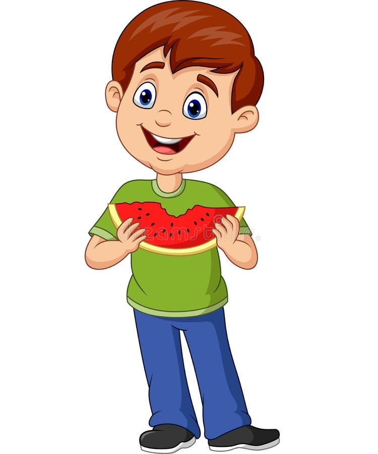 Garçon de bande dessinée mangeant la tranche de pastèque illustration libre de droits