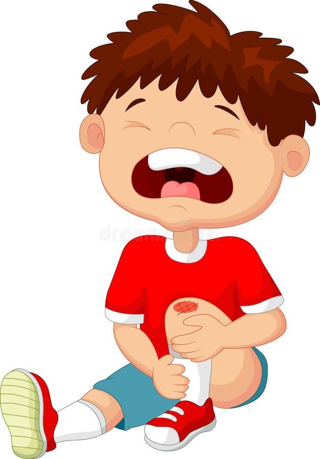 Garçon de bande dessinée pleurant avec une éraflure sur son genou illustration libre de droits