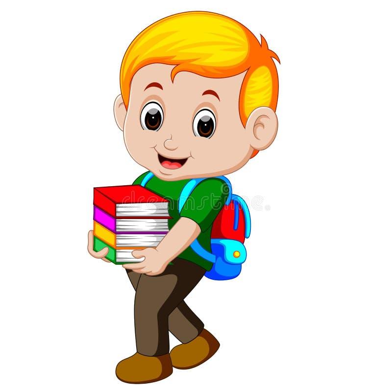 Garçon de bande dessinée tenant une pile des livres avec le sac à dos illustration de vecteur