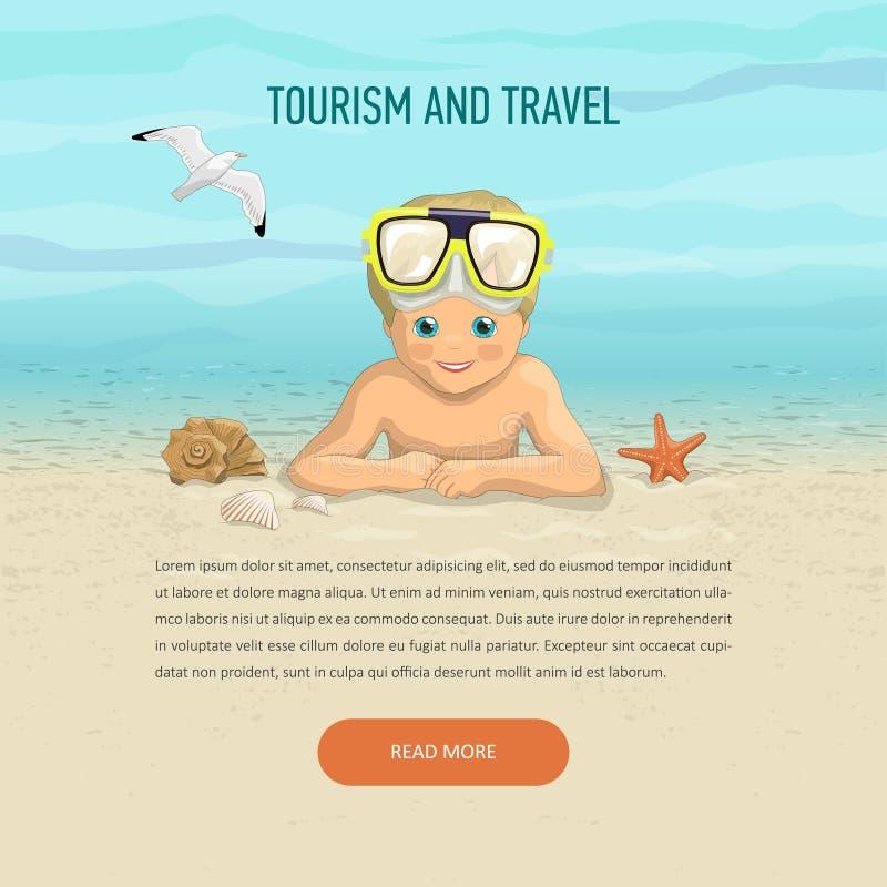 Garçon de calibre des vacances sur la plage illustration stock