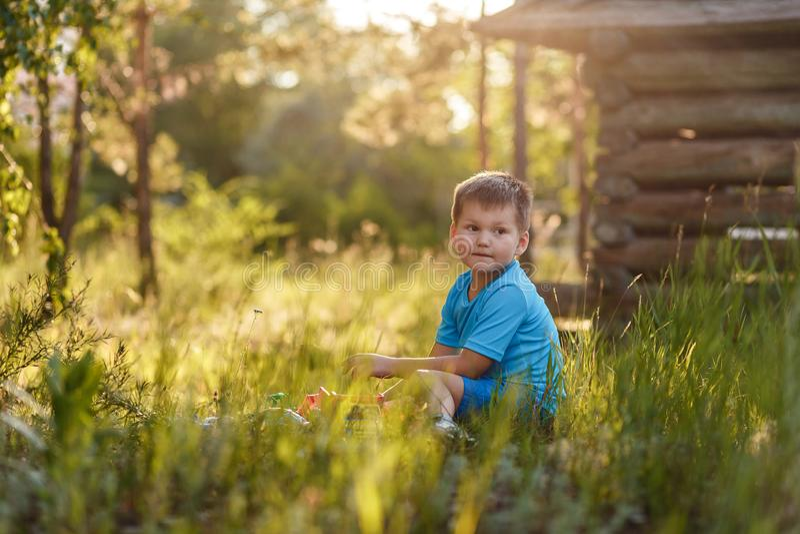 Garçon de cinq ans aux cheveux courts Caucasoid s'asseyant dans l'herbe grande dans le jardin pendant l'été photographie stock