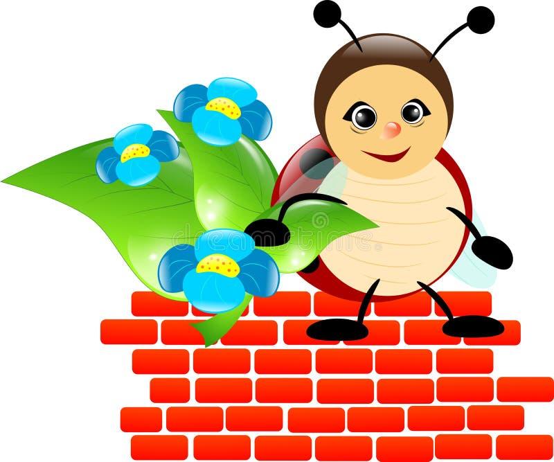Garçon de coccinelle sur le mur de briques illustration de vecteur
