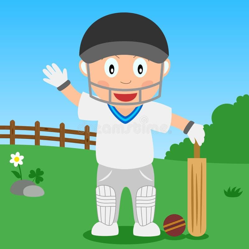 Garçon de cricket en stationnement illustration stock