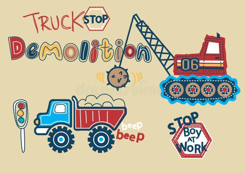 Garçon de démolition de relais routier au travail. illustration libre de droits