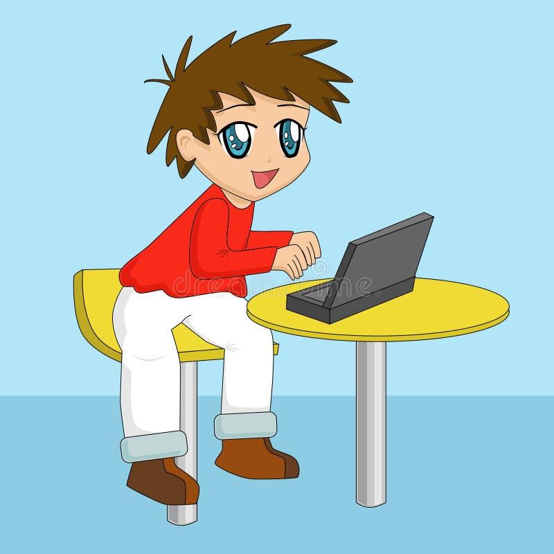 Garçon de dessin animé à l'aide de l'ordinateur portatif illustration libre de droits