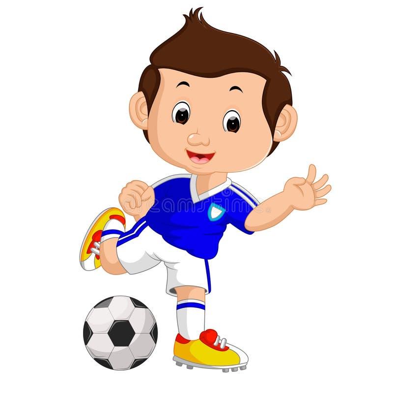 Garçon de dessin animé jouant au football illustration stock