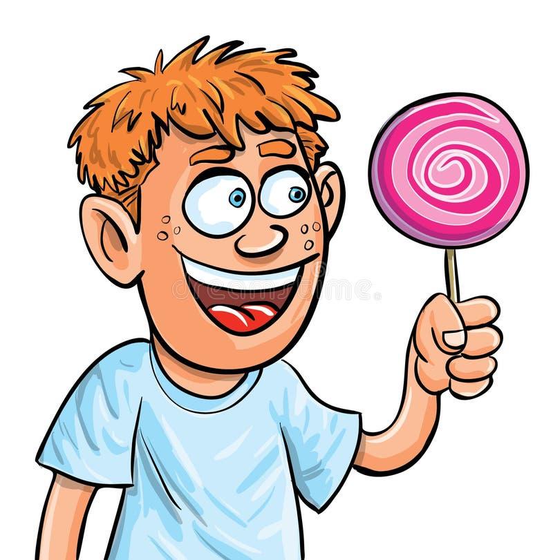 Garçon de dessin animé mangeant le lollypop. D'isolement illustration libre de droits