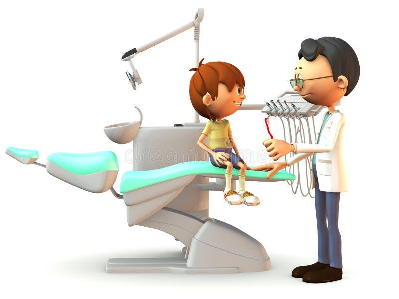 Garçon de dessin animé rendant visite au dentiste. illustration stock