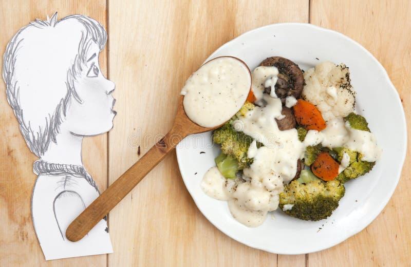 Garçon de dessin avec des légumes de vapeur image stock