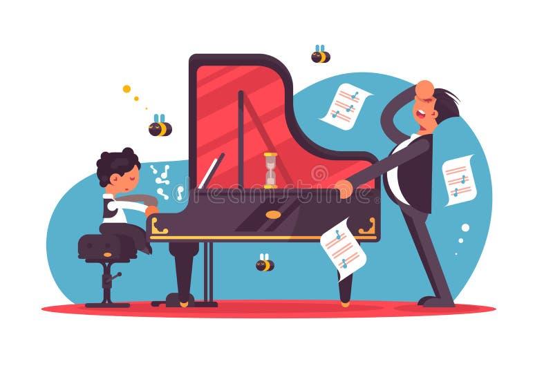 Garçon de enseignement soumis à une contrainte de tuteur de piano illustration stock