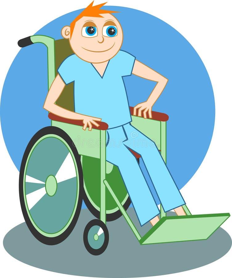 Garçon de fauteuil roulant illustration de vecteur