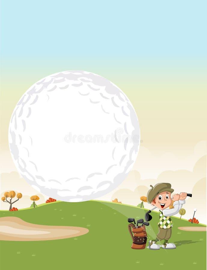 Garçon de golfeur de bande dessinée tirant une boule de golf illustration stock