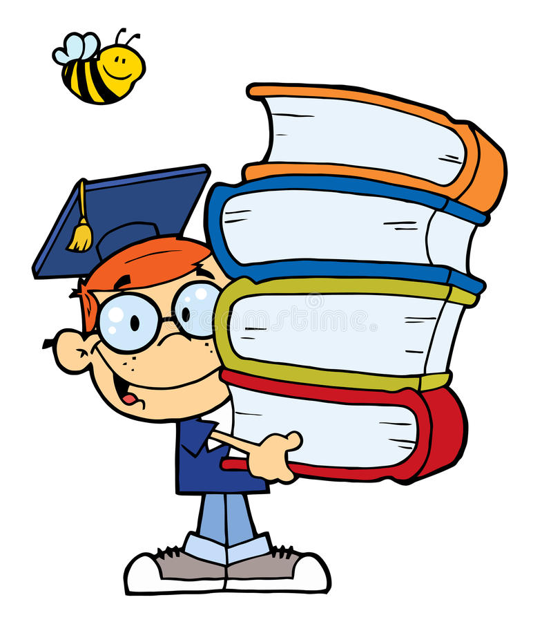 Garçon de graduation avec des livres dans des leurs mains photos libres de droits