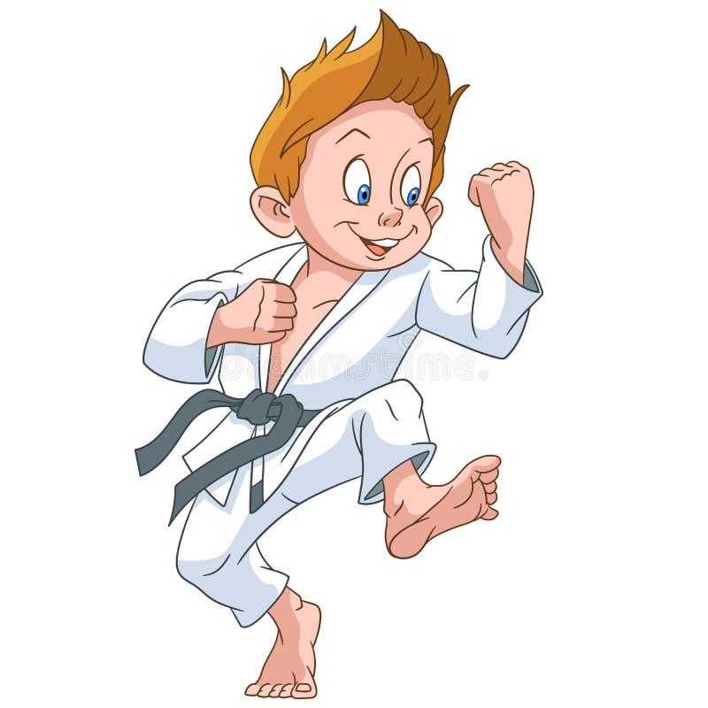 Garçon de karaté de bande dessinée illustration stock