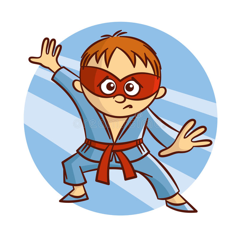 Garçon de karaté de super héros de bande dessinée illustration de vecteur