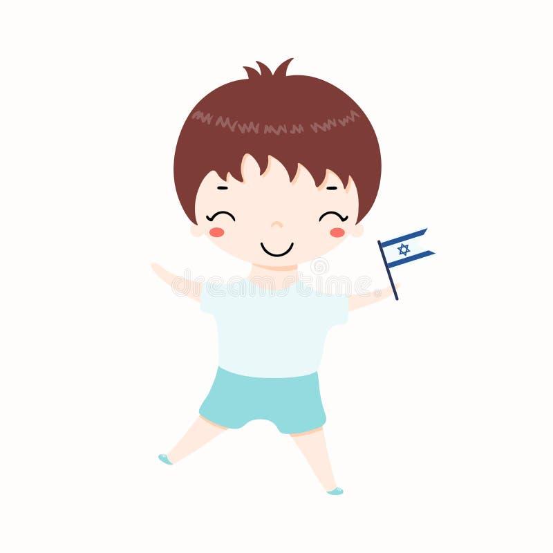 Garçon de Kawaii avec le drapeau de l'Israël illustration de vecteur