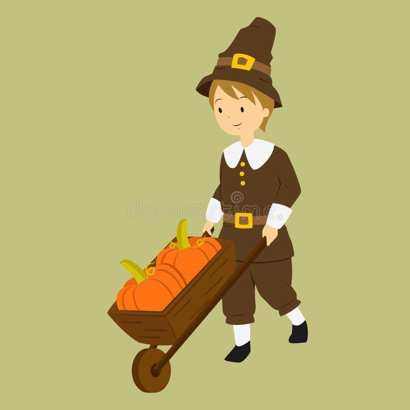 Garçon de pèlerin de thanksgiving poussant un chariot de roue rempli de potirons illustration libre de droits
