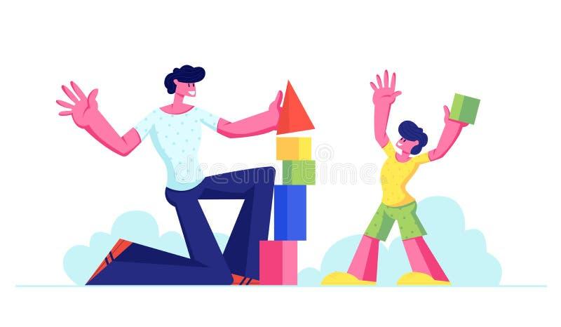 Garçon de papa et de petit enfant ayant la tour de construction de constructeur d'amusement des blocs et des cubes en bois coloré illustration de vecteur