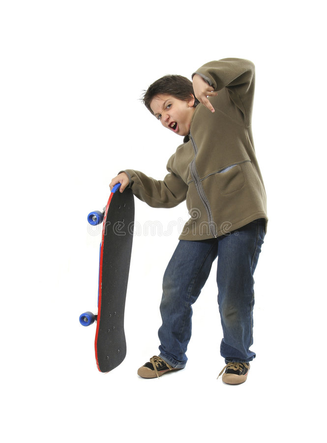 Garçon de patineur avec le visage drôle photo stock