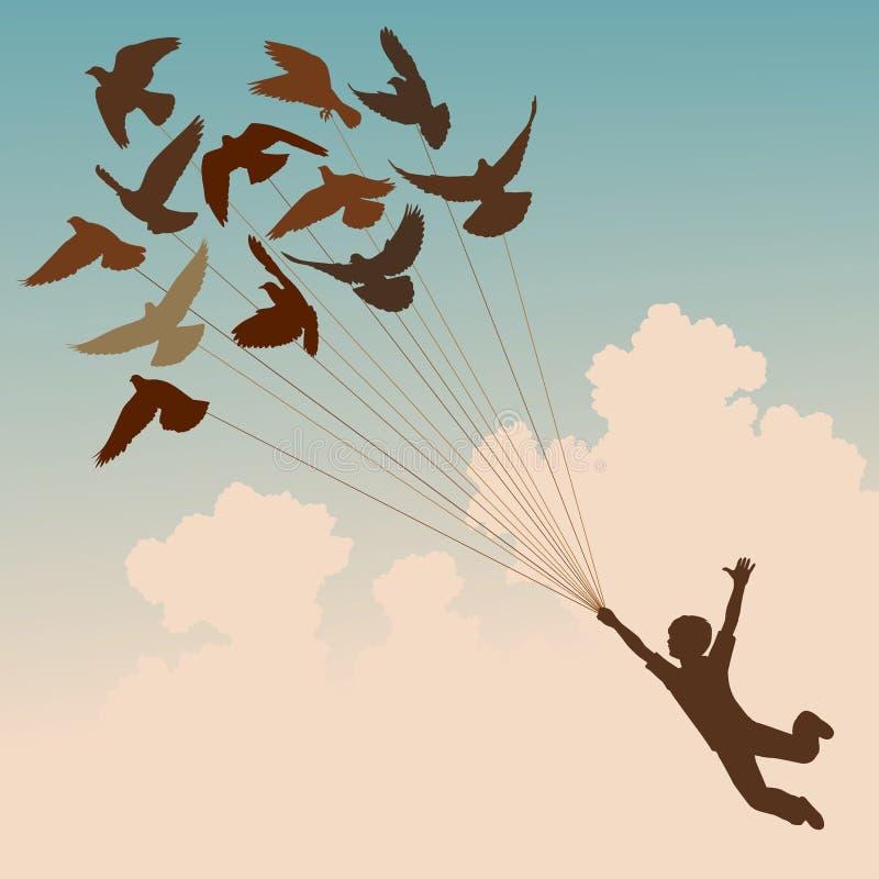 Garçon de pigeon illustration stock