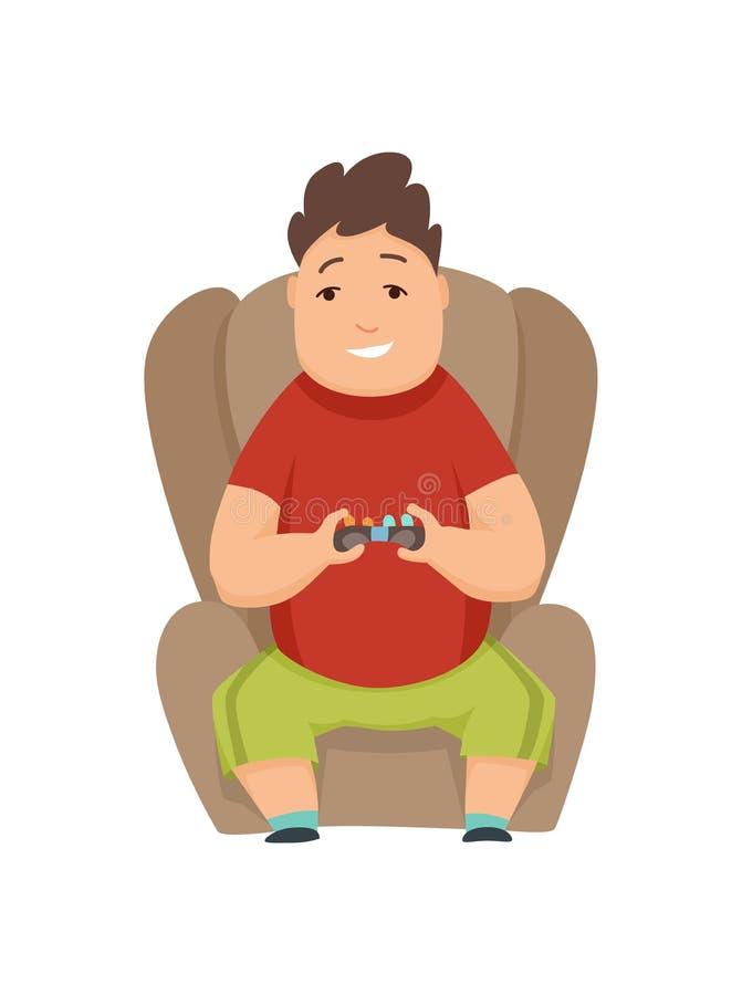 Garçon de poids excessif jouant des jeux d'ordinateur et s'asseyant dans une chaise molle illustration stock
