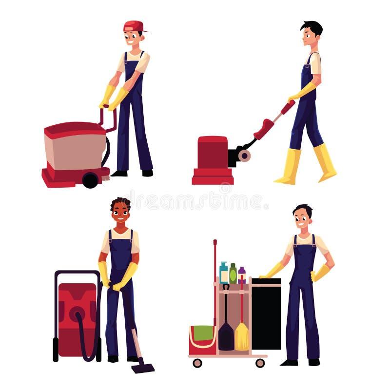 Garçon de service de nettoyage avec l'aspirateur, machine à laver de plancher, chariot illustration de vecteur