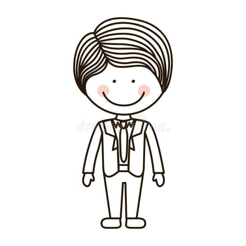 Garçon de silhouette avec le costume et le lien formels illustration stock