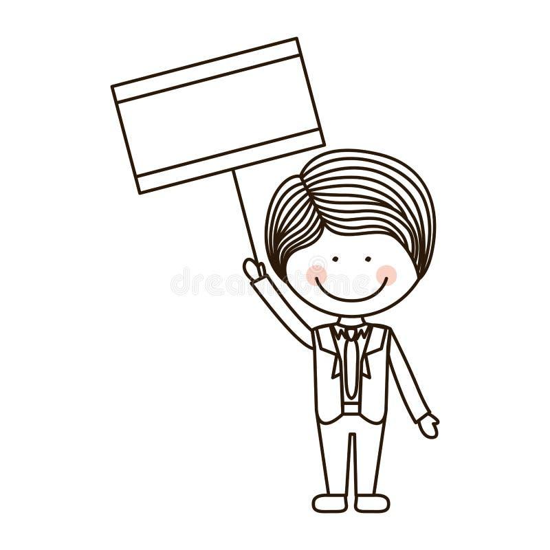 Garçon de silhouette tenant l'affiche avec le costume formel illustration libre de droits