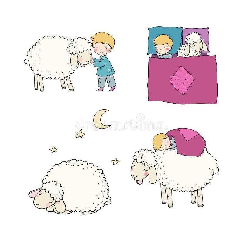 Garçon de sommeil et moutons mignons de bande dessinée Bonne nuit Temps de sommeil Copie pour des pyjamas illustration libre de droits