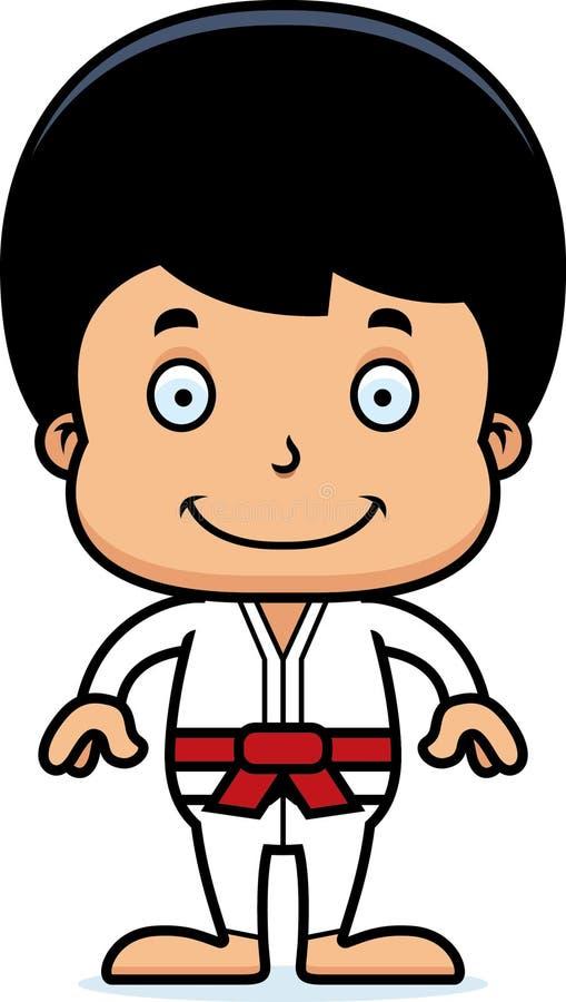 Garçon de sourire de karaté de bande dessinée illustration de vecteur
