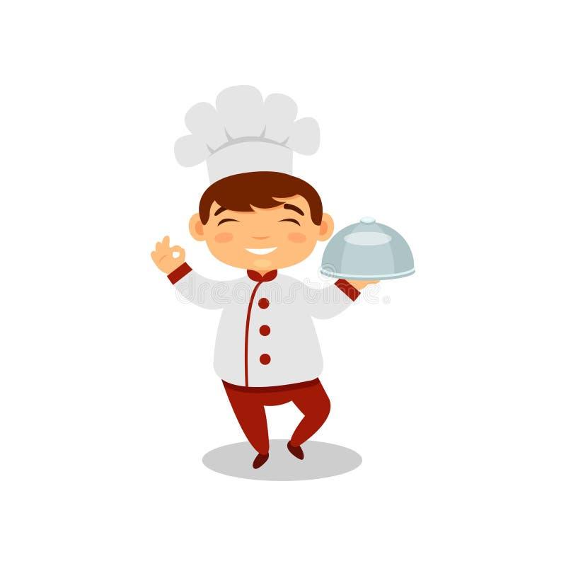 Garçon de sourire jugeant le plat disponible Enfant mignon dans l'uniforme et le chapeau de chef Peu font cuire Le futur travail  illustration stock