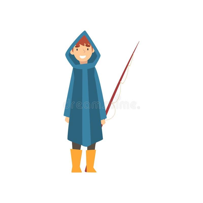 Garçon de sourire mignon dans l'imperméable avec canne à pêche, petite illustration de Cartoon Character Vector de pêcheur illustration libre de droits