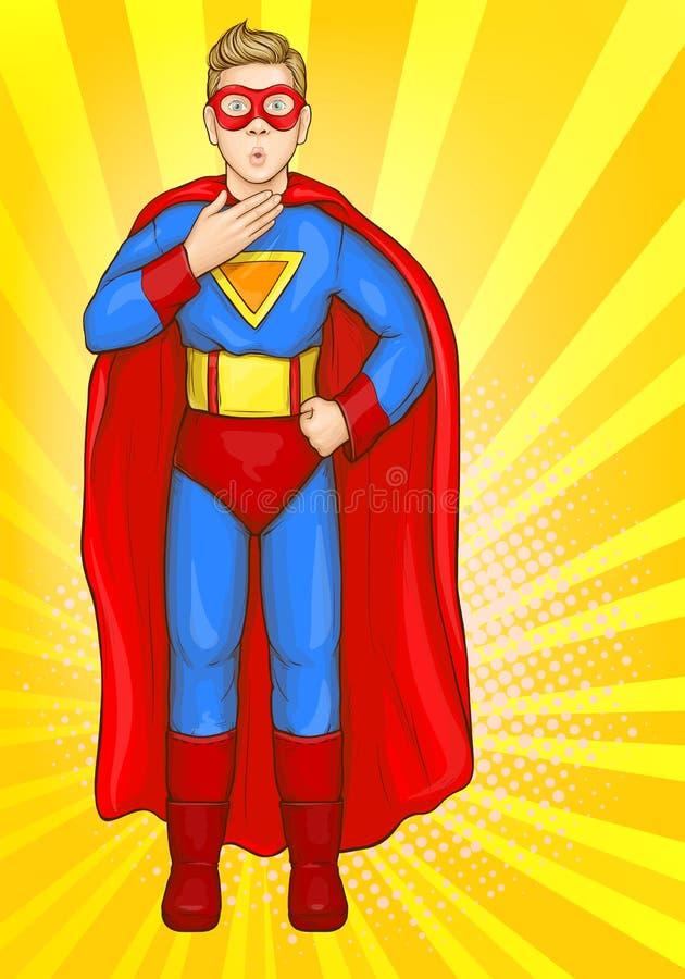 Garçon de Superman dans le costume de superhéros, enfant de puissance illustration libre de droits