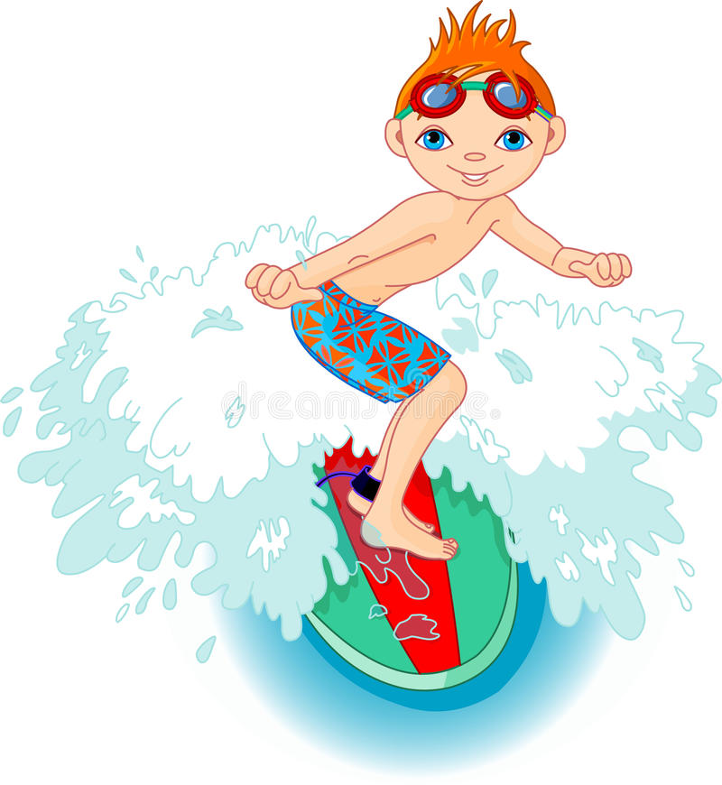 Garçon de surfer dans l'action illustration libre de droits