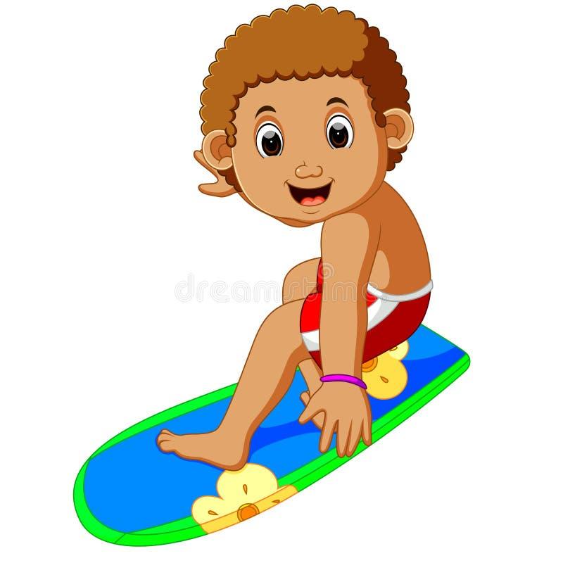 Garçon de surfer de bande dessinée illustration de vecteur