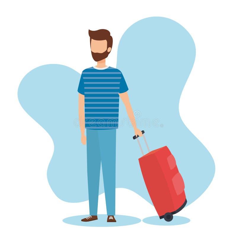 Garçon de voyage avec la conception de sac illustration stock