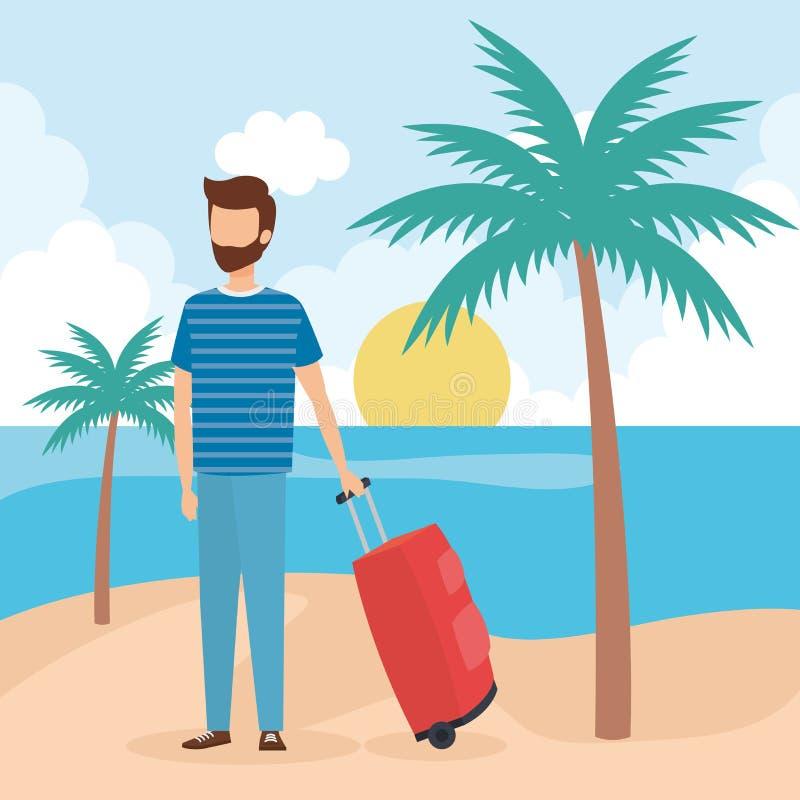 Garçon de voyage sur la conception de plage illustration stock