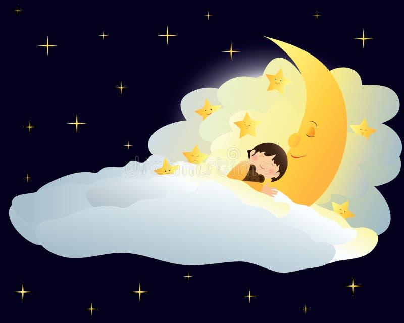 Garçon dormant sur la lune illustration de vecteur