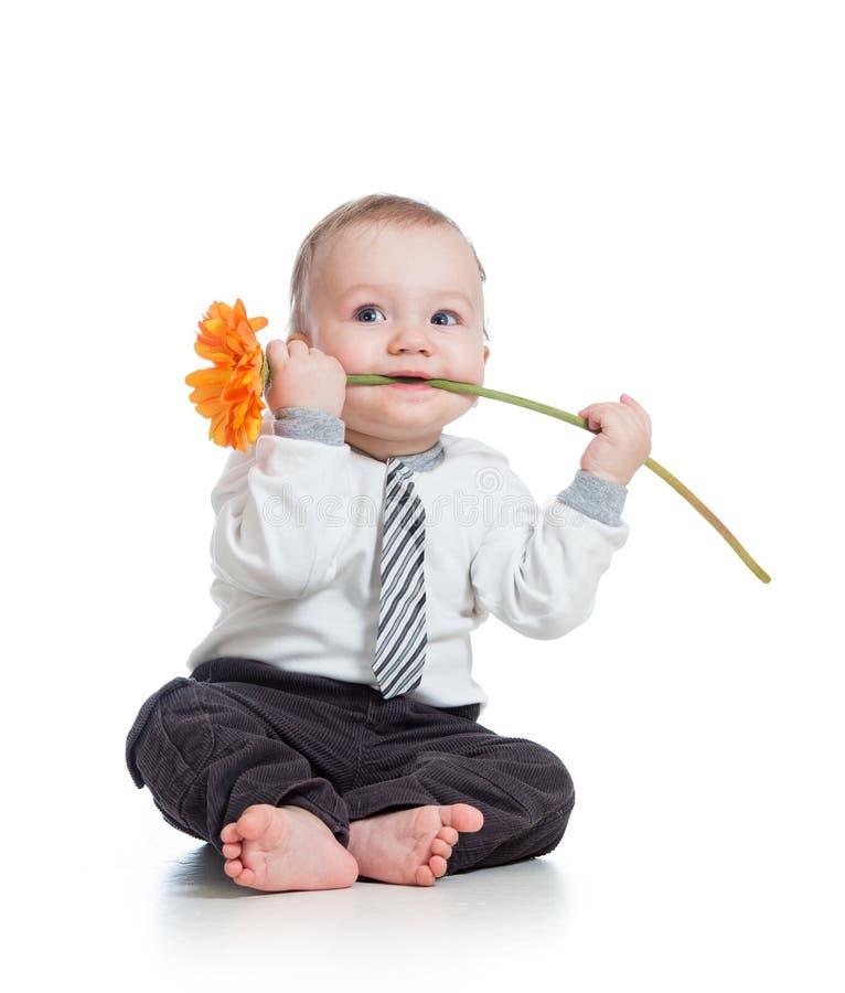 Garçon drôle avec la fleur photos libres de droits