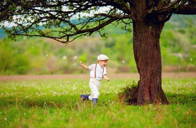 Garçon enthousiaste heureux, agriculteur courant sur le gisement de ressort, sous un vieil arbre photographie stock