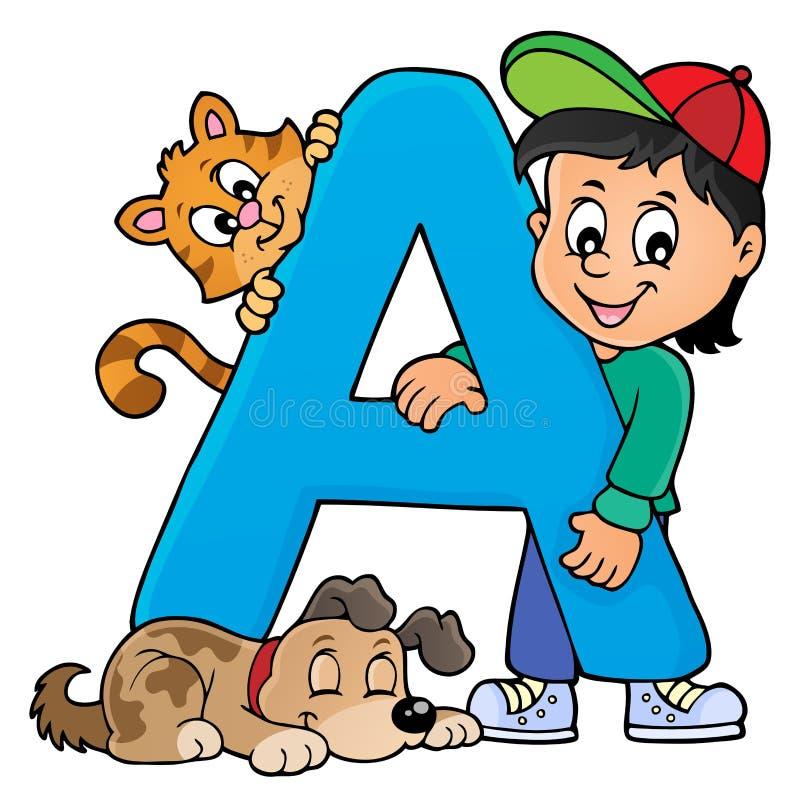 Garçon et animaux familiers avec la lettre A illustration de vecteur