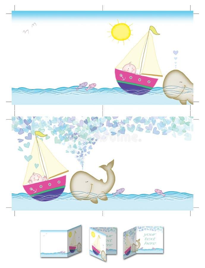 Garçon et baleine heureux illustration de vecteur