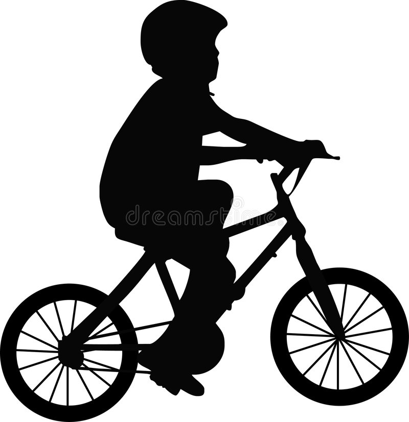 Garçon et bicyclette illustration de vecteur